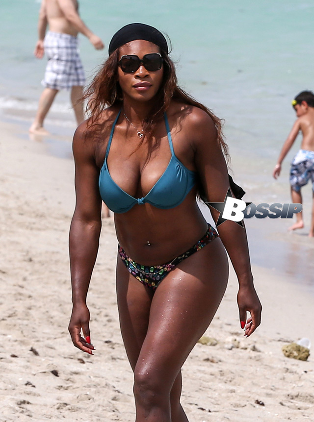 51385702 Tennis champion Serena Williams shows off her curvy physique in a blue bikini while enjoying the beach with friends on April 16, 2014 in Miami, Florida. FameFlynet, Inc - Beverly Hills, CA, USA - +1 (818) 307-4813